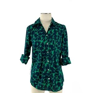 Gap- Green & Navy Abstract Print Fitted Shirt Sm